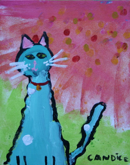 Guimauve - Painting,  11.8 in, ©2013 by Candice TEJEDOR -                                                              guimauve chat peinture toile enfant art naif