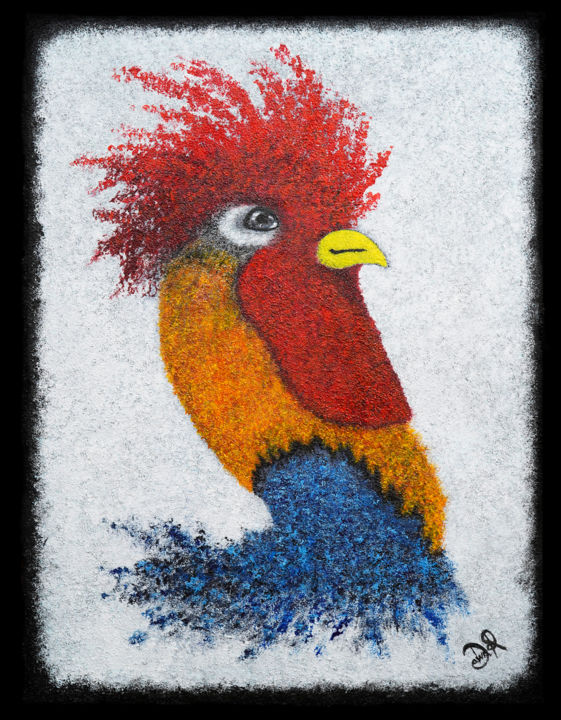 Early Bird - Painting,  24x18 in, ©2019 by Dawn Richards -                                                                                                                                                                                                                                                                                                                                                                                                                                                                                                                                              Abstract, abstract-570, Birds, animal art, abstract animal art, abstract bird art, textured abstract, canvas art, Cockerel art, rooster art, coloured bird art