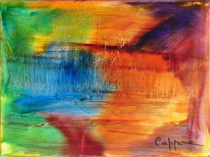 Et L'Eau Monte - And Water Brings up - Painting,  40x30 cm ©2007 by Cappone -                                                                    Abstract Art, Abstract Art, Outer Space, Seascape, eau, forum festival Cannes, symposium, water