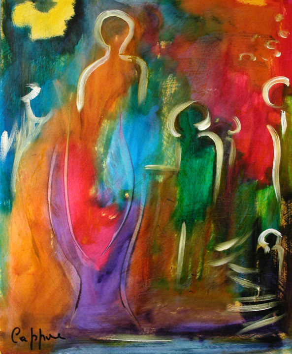 La Coupe D'Amour - Love Glass - Painting,  38x46 cm ©2005 by Cappone -                                                        Abstract Art, Religion, Love / Romance, christiane cappone, EMF, coupe d'amour, énergie, coupe, divin, offrande, cadeau