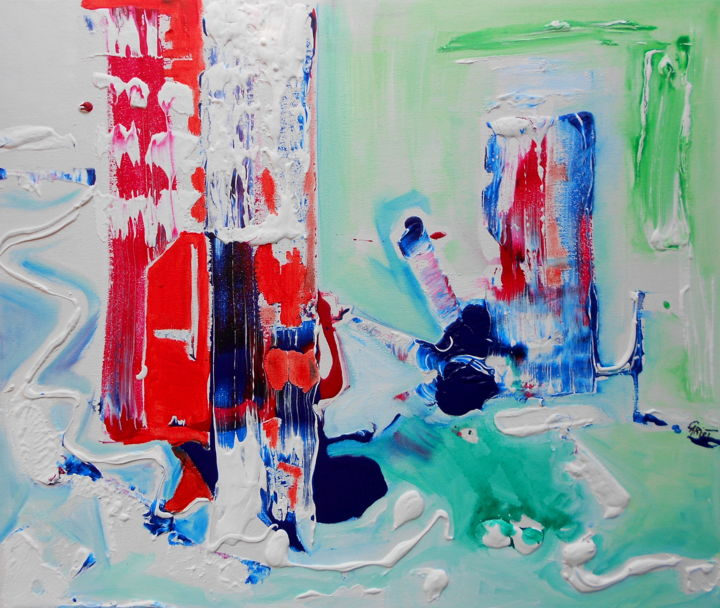 Sur le Chemin - Painting,  18.1x21.7 in, ©2015 by Nathalie Cariot -                                                                                                                                                                                                                                                                                                                                                              Abstract, abstract-570, Abstract Art, couleur, exposition, art thérapie, peinture