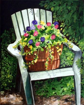 Little Garden Chair Painting by Carla J Connelly | Artmajeur