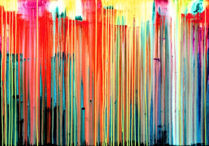 The Emotional Creation #139 - Painting,  70x100x4 cm ©2017 by Carla Sá Fernandes -                                                                        Abstract Art, Contemporary painting, Canvas, Abstract Art, abstract, acrylic, painting, canvas, emotional creation, carla sá fernandes, dripping, stripes, large, multicolor, modern, contemporary, fine art