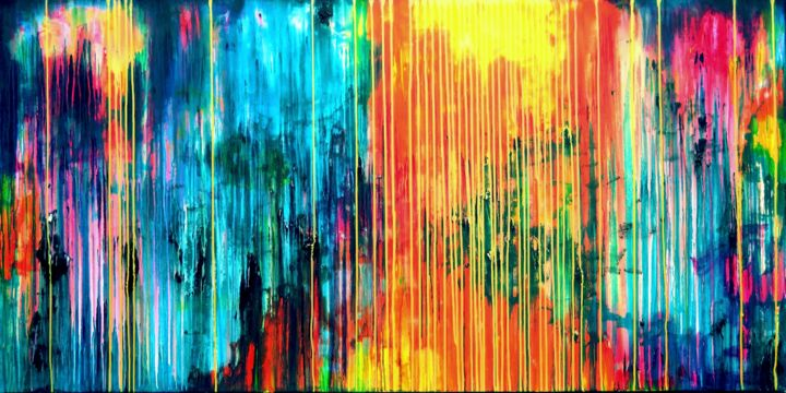 The Emotional Creation #167 - Painting,  39.4x78.7x1.6 in ©2017 by Carla Sá Fernandes -                                                                    Abstract Art, Abstract Expressionism, Contemporary painting, Abstract Art, abstract, acrylic, painting, canvas, emotional creation, carla sa fernandes, dripping, stripes, multicolor, metallic yellow, extra large, xl
