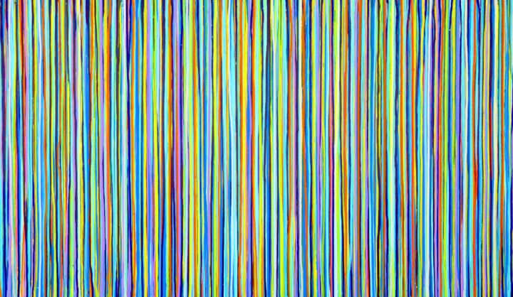 The Emotional Creation #171 - ©  abstract, acrylic, painting, canvas, emotional creation, carla sá fernandes, stripes, dripping, multicolor, extra large, xl, large scale, metallic aqua, modern, contemporary, fine art Online Artworks