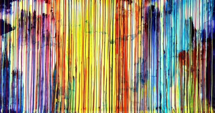 The Emotional Creation #176 - Painting,  41.7x78.7x1.6 in ©2017 by Carla Sá Fernandes -                                                        Abstract Art, Contemporary painting, Abstract Art, abstract, acrylic, painting, canvas, emotional creation, carla sa fernandes, carlasafe, extra large, large scale, dripping, stripes, multicolor, modern, contemporary, fine art