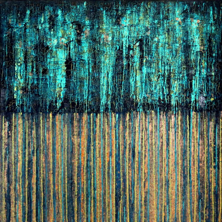 Blue Gold No. 4 - © 2017 abstract, acrylic, painting, cork, oil, carla sa fernandes, blue, gold, aqua, carlasafe, impasto, textured painting, texture, modern, contemporary Online Artworks