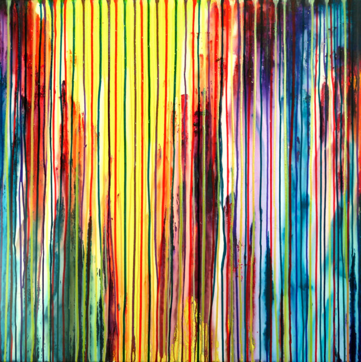 The Emotional Creation #188 - © 2017 abstract, acrylic, painting, emotional creation, carla sa fernandes, carlasafe, large, modern, contemporary, fine art, dripping, stripes, metallic, colorful, multicolor, seascape, landscape Online Artworks