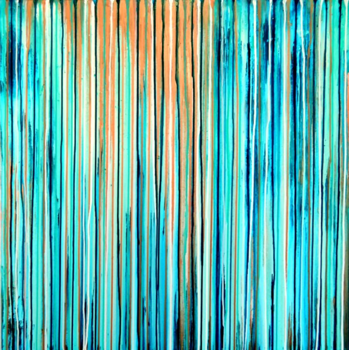 The Emotional Creation #189 - © 2017 abstract, acrylic, painting, canvas, emotional creation, carla sa fernandes, carlasafe, large, square, blue, aqua, bronze, modern, contemporary, fine art, stripes, dripping, white, seascape, sea Online Artworks