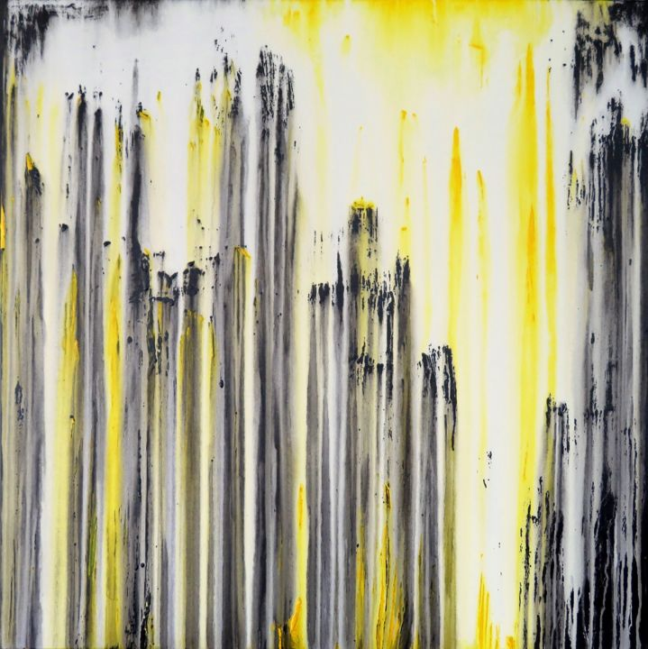 The Emotional Creation #191 - © 2018 abstract, acrylic, painting, canvas, carla sa fernandes, carlasafe, emotional creation, large, yellow, white, black, landscape, modern, contemporary, minimal, office, living room, bedroom Online Artworks