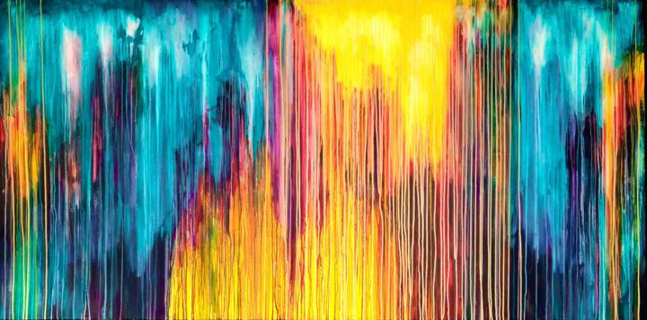 The Emotional Creation #200 - © 2018 abstract, acrylic, painting, canvas, emotional creation, carla sa fernandes, carlasafe, extra large, xl, xxl, large scale, seascape, sea, ocean, sky, sun, sunlight, orange, yellow, turquoise, purple, red Online Artworks