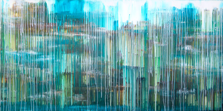 The Emotional Creation #215 - © 2018 abstract, acrylic, painting, canvas, emotional creation, carla sa fernandes, carlasafe, landscape, xl, extra large, large scale, blue, brown, silver, turquoise, modern, home decor, home design, contemporary, green, yellow Online Artworks