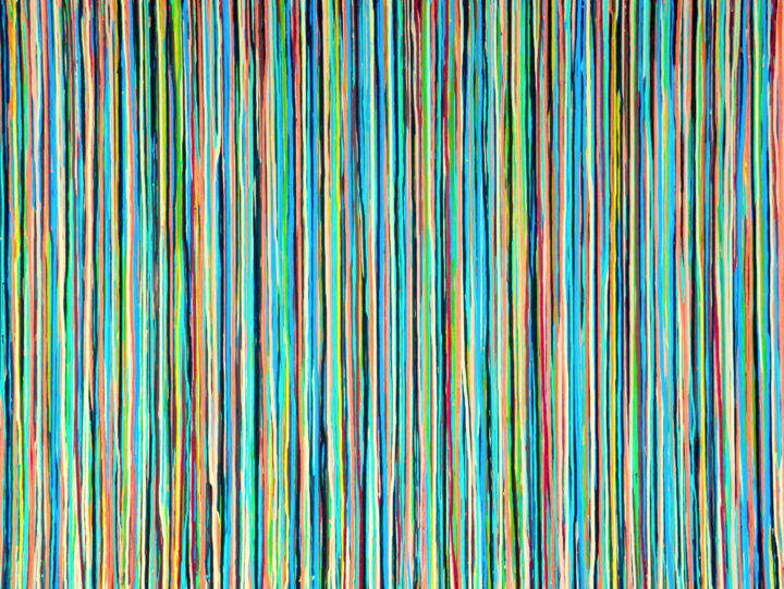 The Emotional Creation #216 - © 2018 abstract, acrylic, painting, canvas, emotional creation, carla sa fernandes, large, large scale, stripes, dripping, rainbow, cerulean, aqua, payne's grey, copper, madder carmine, green gold, sand, flesh, modern, contemporary, fine art, home decor, home design Online Artworks