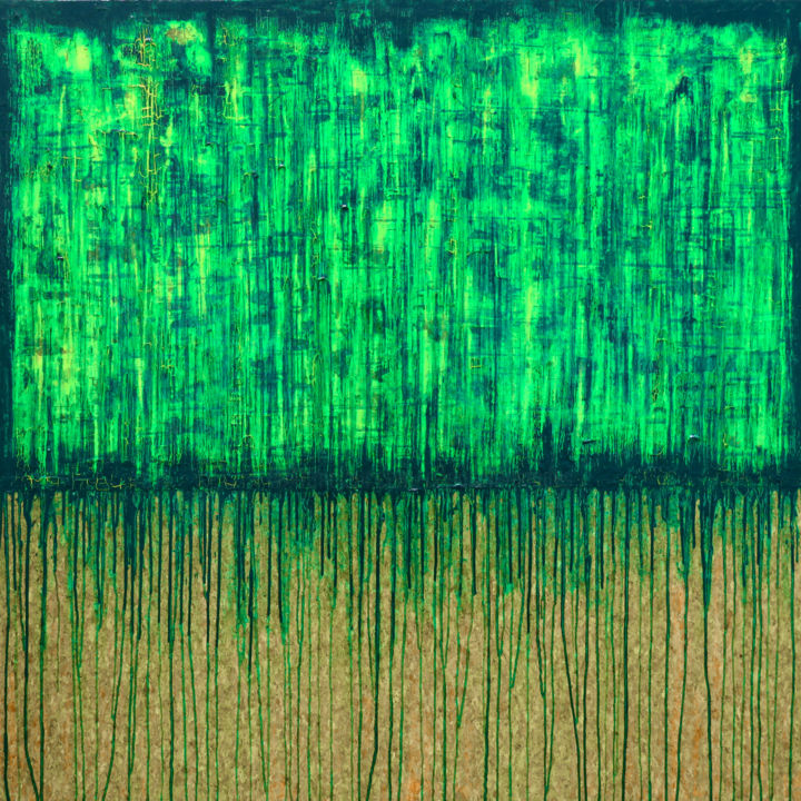 Green No. 1 - © 2018 abstract, oil, acrylic, painting, green, cork, moods, carla sa fernandes, carlasafe, large, large scale, pattern, textured painting, modern, contemporary, home decor, home design, room decor, wall art, fine art, metallic green yellow Online Artworks