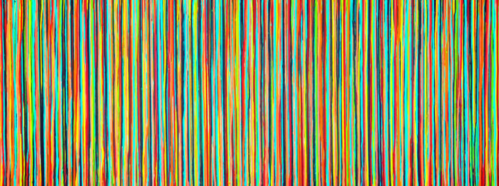 The Emotional Creation #233 - © 2018 abstract, acrylic, painting, canvas, emotional creation, carla sa fernandes, xl, extra large, stripes, colorful, copper, aqua, red, yellow, green, black Online Artworks