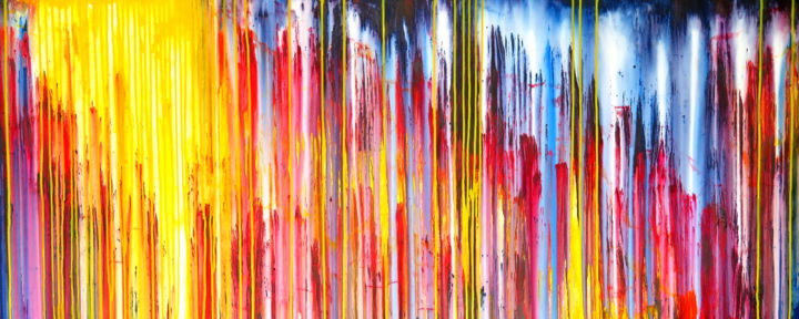 The Emotional Creation #236 - © 2018 abstract, acrylic, painting, original artwork, canvas, emotional creation, carla sa fernandes, xl, extra large, wall art, wall decor, sky, sun, sunset, sunrise, landscape, yellow, orange, red, blue, stripes Online Artworks
