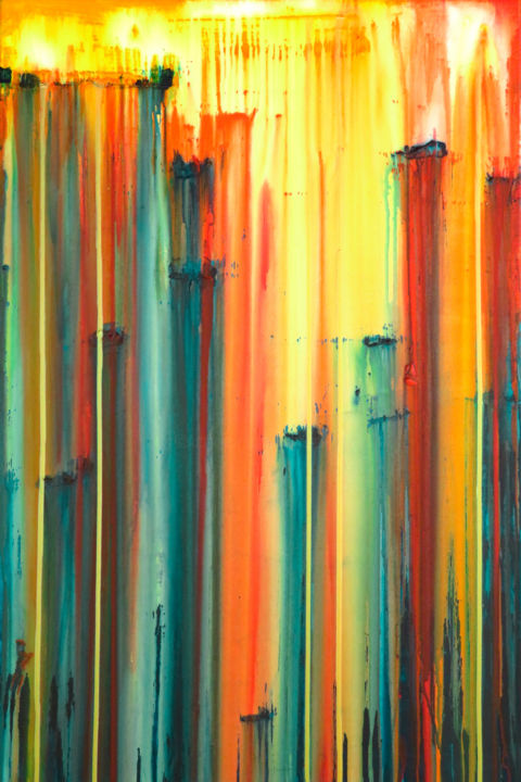 A Crush on Orange (#4) - © 2018 abstract, acrylic, large, painting, canvas, a crush on, carla sa fernandes, stripes, wall art, wall decor, landscape, orange, red, blue, yellow Online Artworks