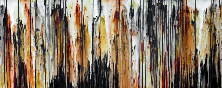 The Emotional Creation #238 - © 2018 abstract, acrylic, painting, canvas, xl, extra large, landscape, pattern, carla sa fernandes, emotional creation, modern art, contemporary art, abstract art, wall art, wall decor, stripes, black, ocher, burnt sienna, brown, earth tones, desert, earth Online Artworks