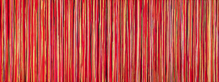 The Emotional Creation #240 - © 2018 abstract, acrylic, painting, canvas, carla sa fernandes, modern, contemporary, stripes, red, gold, bronze, emotional creation, extra large, xl, wall art, wall decor, interior design Online Artworks
