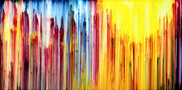 The Emotional Creation #241 - © 2018 abstract, acrylic, painting, canvas, emotional creation, carla sa fernandes, extra large, sky, sun, landscape, stripes, yellow, blue, red, colorful, vibrant, whimsical, wall art, wall decor, interior design, interior decor, home decor, decor Online Artworks