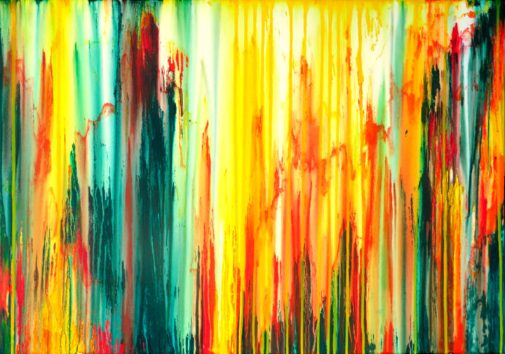 The Emotional Creation #243 - © 2018 abstract, large, acrylic, painting, canvas, emotional creation, carla sa fernandes, seascape, sea, ocean, water, sun, sunset, wall art, wall deor, interioe design, turquoise, orange, red, yellow, stripes, colorful, vibrant, whimsical Online Artworks