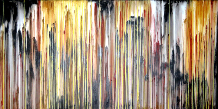 The Emotional Creation #248 - © 2018 abstract, xl, extra large, acrylic, painting, canvas, carla sa fernandes, emotional creation, landscape, metallic, gold, black, white, yellow oxide, burnt sienna, wall art, wall decor, interior design, home decor Online Artworks