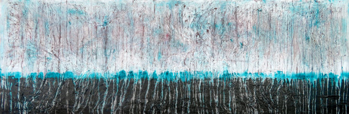 A Crush on Turquoise (#3) - © 2019 abstract, acrylic, painting, canvas, xl, extra large, carla sa fernandes, crush, turquoise, black, texture, white, wall art, interior design, home decor, wall decor Online Artworks