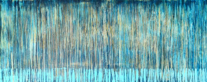 A Crush on Blue (#16) - © 2019 abstract, acrylic, painting, canvas, carla sa fernandes, blue, gold, wall art, wall decor, extra large painting, artwork, xl, modern art, contemporary art, modern painting, contempoary painting, seascape, pattern, home design, home decor Online Artworks