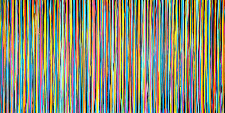 The Emotional Creation #286 - Painting,  39.4x78.7x1.6 in, ©2020 by Carla Sá Fernandes -                                                                                                                                                                                                                                                                                                                                                                                                                                                                                                                                                                                                                                                                                                                                                                                                                                                                                                                                                                                                                                                                                                                                                                                      Abstract, abstract-570, Abstract Art, Colors, Patterns, abstract painting, abstract art, emotional creation, carla sa fernandes, stripes painting, lines painting, rough painting, colorful painting, colourful painting, colorful art, colourful art, extra large artwork, extra large art, pattern painting, patterns, layered painting, xl artwork, happy painting, original painting, abstract artwork