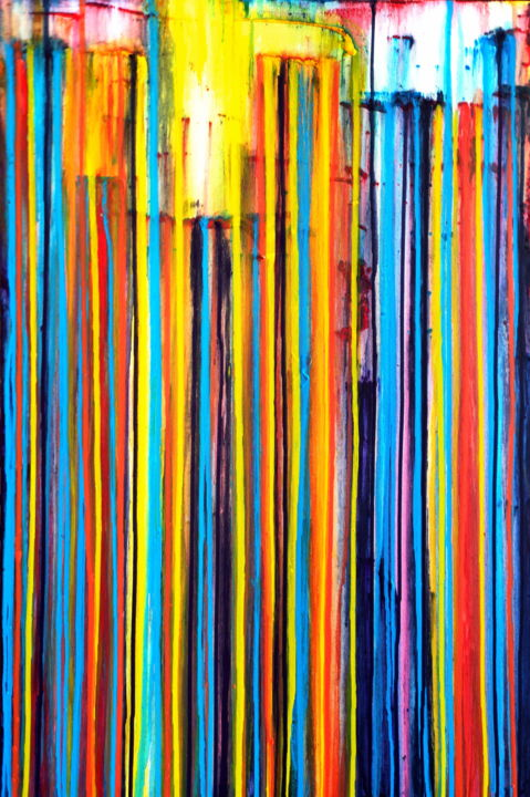 A Crush on Color #12 - © 2020 abstract art, abstract painting, colorful painting, colourful art, vertical painting, large painitng, happy art, carla sa fernandes, happy painting, layered painting, sun, sea, wall decor, stripes, lines Online Artworks