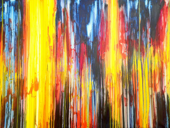 The Emotional Creation #290 - © 2020 abstract art, abstract painting, emotional creation, carla sa fernandes, large painting, sky, sun, yellow, orange, red, blue, colorful painting, colourful painting, happy painting, layered painting, layered artwork, wall art, wall decor, statemen piece Online Artworks