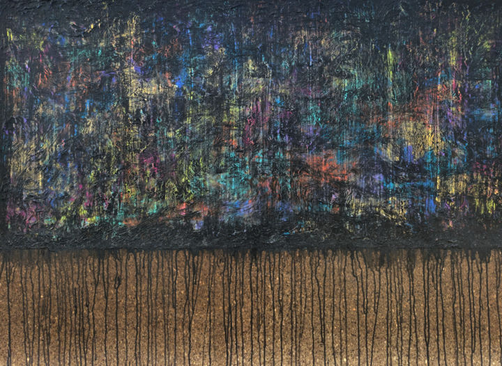 Black Variegated No. 2 - Painting,  37.4x51.2x1.6 in, ©2020 by Carla Sá Fernandes -                                                                                                                                                                                                                                                                                                                                                                                                                                                                                                                                                                                                                                                                                                                                                                                                                                                                                                              Abstract, abstract-570, Abstract Art, Patterns, abstract art, abstract painting, cork, carla sa fernandes, textured paitning, metallic painting, iridescent painting, large painting, modern art, contemporary abstract art, minimal art, whimsical, black painting, colorful, colourful