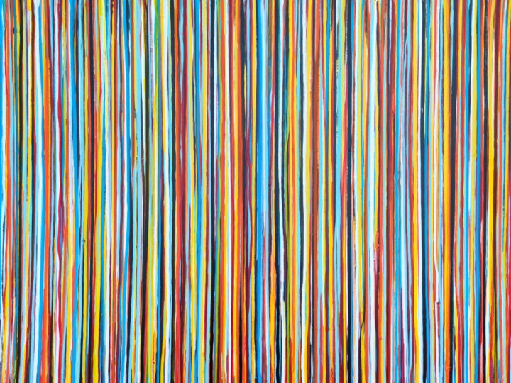 The Emotional Creation #297 - Painting,  35.4x47.2x1.6 in, ©2020 by Carla Sá Fernandes -                                                                                                                                                                                                                                                                                                                                                                                                                                                                                                                                                                                                                                                                                                                                                                                                                                                                                                                                                          Abstract, abstract-570, Abstract Art, Colors, Patterns, abstract art, abstract painting, emotional creation, carla sa fernandes, stripes painting, layered painting, rough painting, colorful painting, colors, colourful art, lines painting, pattern artwork, abstract artwork, large artwork, large painting