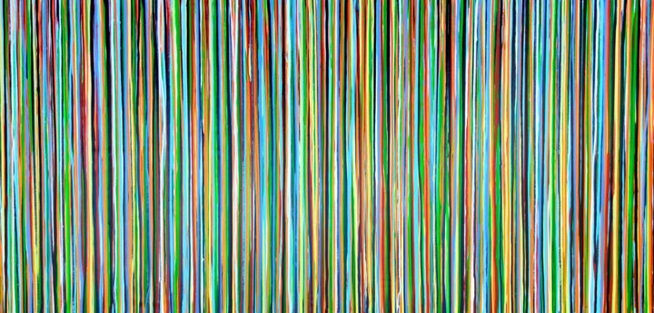The Emotional Creation #299 - Painting,  39.4x78.7x1.6 in, ©2020 by Carla Sá Fernandes -                                                                                                                                                                                                                                                                                                                                                                                                                                                                                                                                                                                                                                                                                                                                                                                                                                                                                                                                                          Abstract, abstract-570, Abstract Art, Colors, Patterns, abstract art, abstract painting, stripes painting, emotional creation, carla sa fernandes, extra large artwork, colorful painting, coloiurful art, abstract artwork, lines painting, layered painting, extra large painting, xl painting, wall art, wall decor