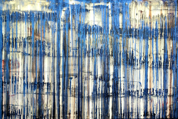 A Crush on Blue (#24) - © 2020 abstract art, abstract painting, carla sa fernandes, layered painting, metallic blue, blue painting, metallic painting, abstract landscape, large artwork, large painting, painting, acrylic painting, wall art, wall decor, interioe design, home decaor, minimal painting, minimal art Online Artworks