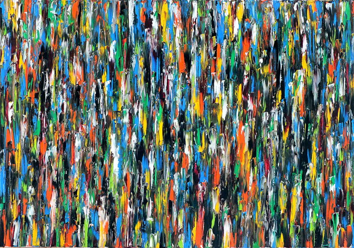 All In #14-1 - ©  original, abstract, art, oil, painting, canvas, all in, Carla Sa Fernandes, impasto, texture, multicolor, large, fine art, modern, contemporary Online Artworks