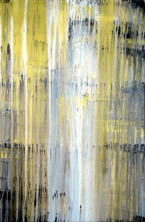 The Emotinal Creation #30 - © 2014 abstract, acrylic, painting, canvas, Carla Sa Fernandes, emotional creation, drip, abstract painting, abstract artwork, metallic painting, golden painting, black, white, minimal painting Online Artworks