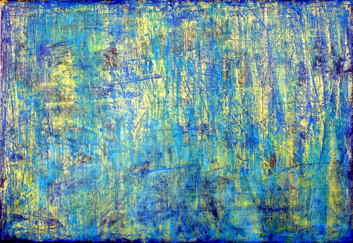 Blue Gold No.1 (CS16003) - ©  abstract, acrylic, oil, painting, cork, Carla Sa Fernandes, Blue Gold, impasto, texture, modern, contemporary, fine art, metallic Online Artworks