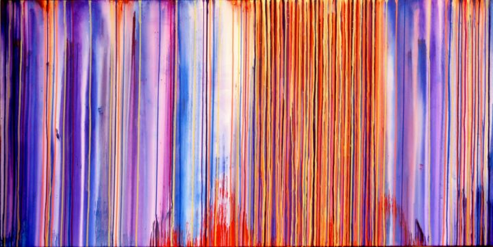 The Emotional Creation #115 - ©  abstract, acrylic, painting, canvas, carla sa fernandes, emotional creation, xl, extra large, dripping, stripes, fine art, modern, contemporary, metallic, iridescent Online Artworks