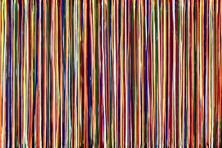 The Emotional Creation #150 - © 2018 abstract, acrylic, painting, canvas, Carla Sá Fernandes, emotional creation, dripping, stripes, large, modern, contemporary, multicolor Online Artworks