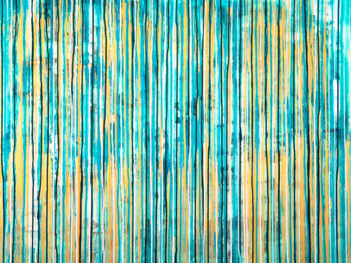 The Emotional Creation #156 - ©  abstract, acrylic, painting, canvas, emotional creation, carla sa fernandes, metallic, blue, aqua, gold, white, large, dripping, stripes, modern, contemporay, fine art Online Artworks