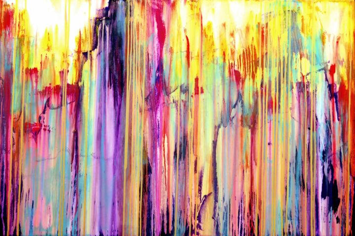 The Emotional Creation #158 - © 2017 abstract, acrylic, painting, canvas, emotional creation, carla sa fernandes, multicolor, dripping, metallic yellow, stripes, large, modern, contemporary, fine art Online Artworks