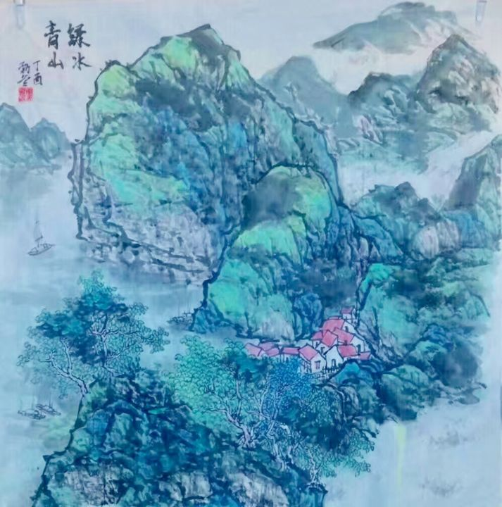 6db8cd14-3090-4620-858d-5dd77893fc78.jpeg - Drawing,  69x69x2 cm ©2018 by Jinbing Huang -                                            Classicism, Paper, Green river and mountain