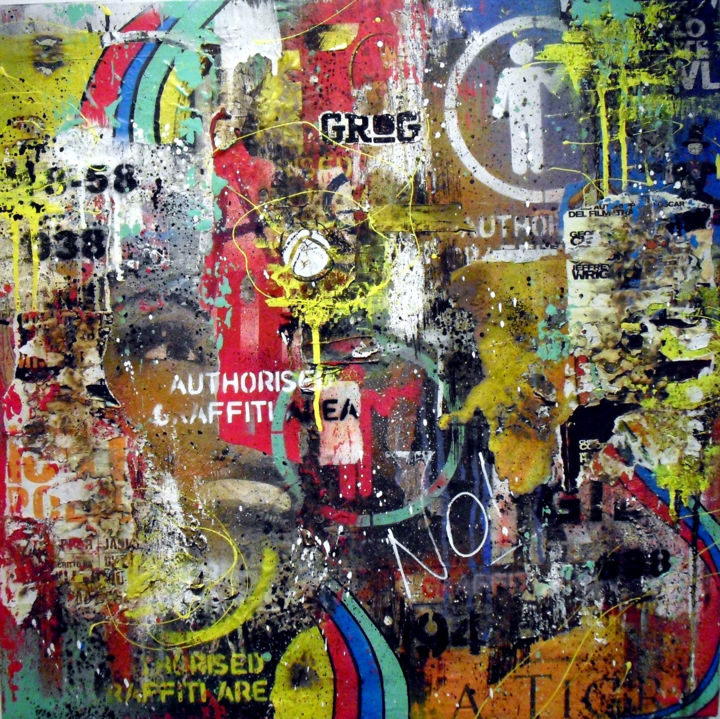 """Painting titled """"No Authorized Area"""" by Carlo Inglese, Original Art, Spray paint"""