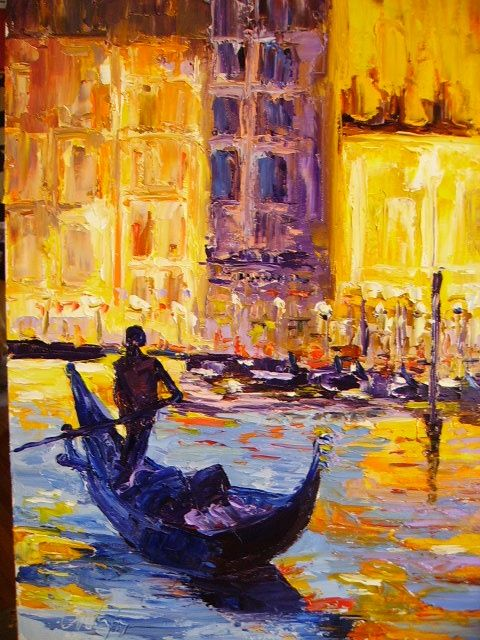 """Painting titled """"Reflection in Venice"""" by Carlo Gislimberti, Original Art, Oil"""