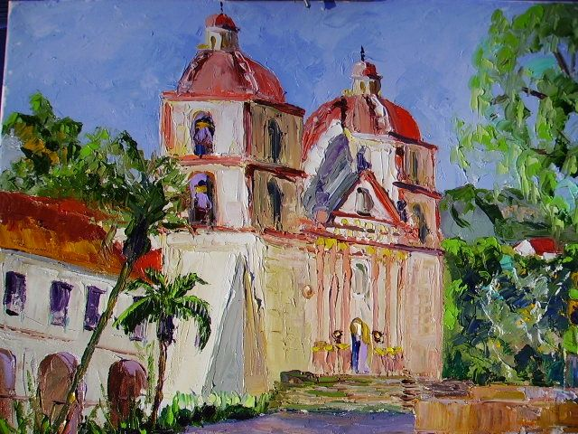 """Painting titled """"Mission in S.Barbara"""" by Carlo Gislimberti, Original Art, Oil"""