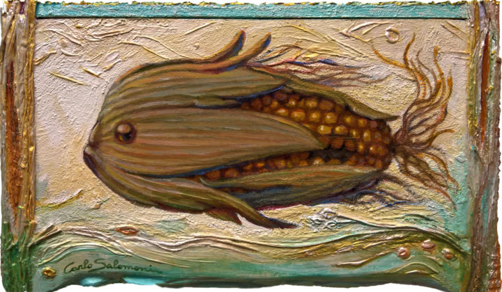 - THE SWEET CORN FISH - ( integrated frame ) - Painting,  6.3x10.8x0.8 in, ©2017 by Carlo Salomoni -                                                                                                                                                                                                                                                                                                                                                                                                                                                                                                  Surrealism, surrealism-627, Animals, Fairytales, Fish, Fantasy, fish, sweetcorn, surrealism, painting