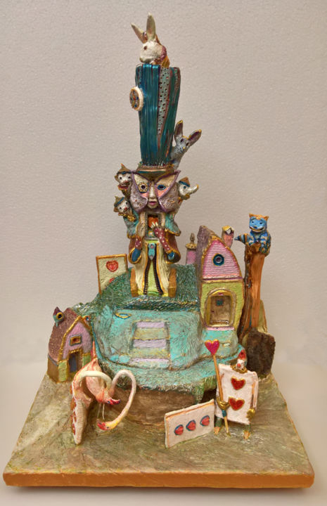 """Sculpture titled """"THE MAD HATTER"""" by Carlo Salomoni, Original Art, Polymer clay"""