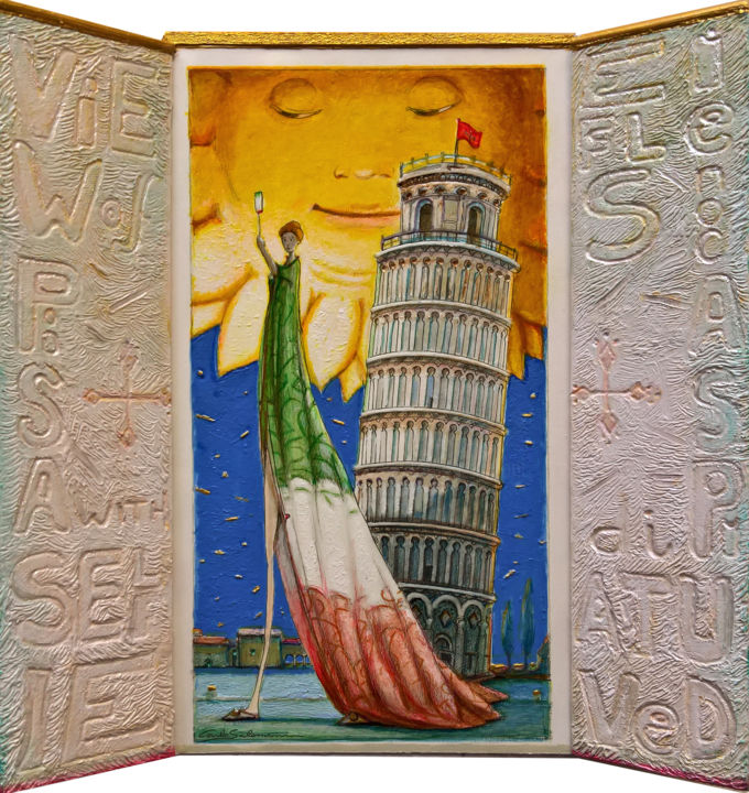 """Sculpture titled """"VIEW OF PISA, WITH…"""" by Carlo Salomoni, Original Art, Acrylic Mounted on Other rigid panel"""