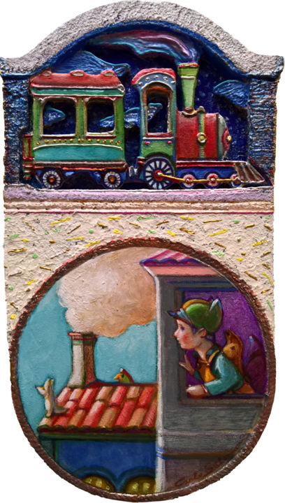 """Sculpture titled """"STAYHOME 8, TRAINS"""" by Carlo Salomoni, Original Art, Acrylic Mounted on Other rigid panel"""